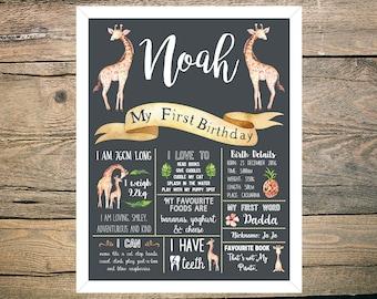 First Birthday Chalkboard Sign Poster - Boy or Girl - Digital / Printable - Tropical - Giraffe - Leafy - Pineapple - Safari
