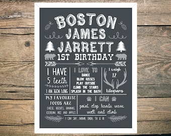 First Birthday Chalkboard Sign Poster - Boy - Digital / Printable - Hunting - Forest - Woodland - Antlers theme