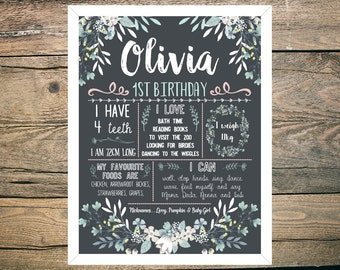 First Birthday Chalkboard Sign Poster - 30th Birthday  - Girl or Boy - Digital / Printable - Pastel Green and Pink Floral theme