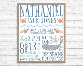 Birth Notice / Birth Details Poster - Digital / Printable - Grizzly Bear - Nautical - Ocean - Sea - Whale - Fish - Crabs