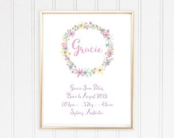 Birth Notice / Birth Details Poster - Digital / Printable - Floral - Pastel Flowers - Purple
