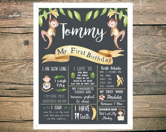 First Birthday Chalkboard Sign Poster - Boy or Girl - Digital / Printable - Monkey - Bananas - Tropical