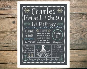 First Birthday Chalkboard Sign Poster - Boy - Digital / Printable - Ocean Sea - Octopus - Nautical - Seahorse - Boat - Anchor - Theme