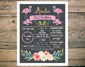 First Birthday Chalkboard Sign Poster - Girl - Digital / Printable - Tropical - Flamingo - Pineapple - Floral - Hawaiian theme