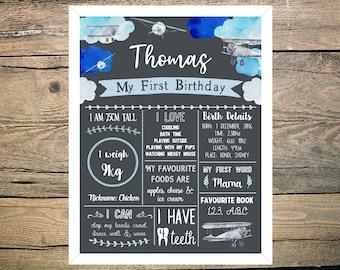 First Birthday Chalkboard Sign Poster - Boy - Digital / Printable - Aeroplane - Plane - Clouds - Blue - Sky Theme
