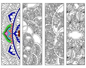 Bookmarks Coloring Printable, scaleable PDF file super quality, Instant Download. 53v.