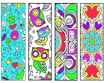 Bookmarks Coloring Printable, scaleable PDF file super quality, Instant Download. 62v.