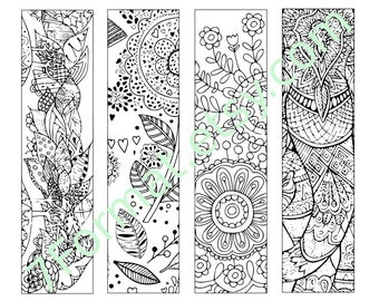 Bookmarks Coloring Printable, scaleable PDF file super quality, Instant Download. 1v b.