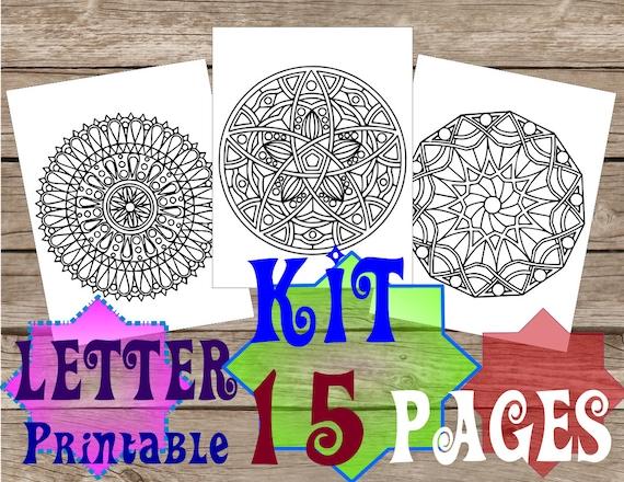 Kit Di 15 Pagine Da Colorare Per Adulti Mandala Zentangles Etsy