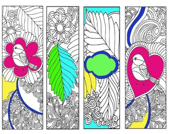 Bookmarks Coloring Printable, scaleable PDF file super quality, Instant Download. 60v.