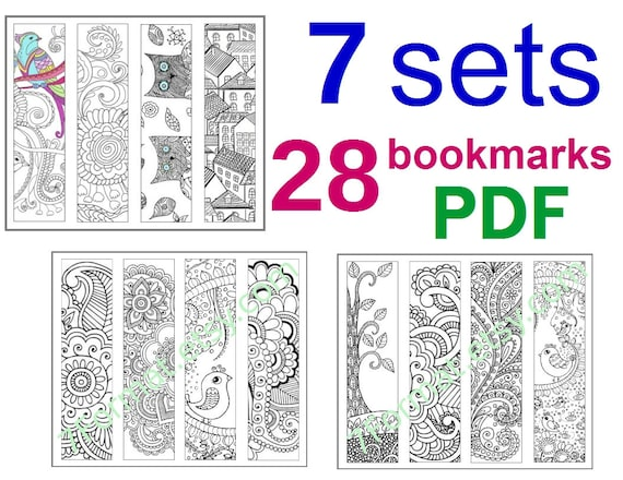 7 sets Bookmarks Coloring, Total 28 Bookmarks, Printable PDF size 8.5 x 11  inches (Letter), Vector Graphics, Instant Download. For Coloring