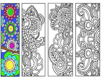 Bookmarks Coloring Printable, scaleable PDF file super quality, Instant Download. 59v.