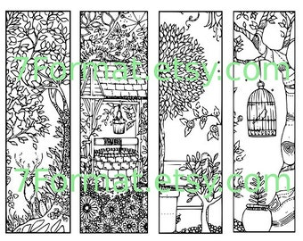 Bookmarks Coloring Printable, scaleable PDF file super quality, Instant Download. 42v.