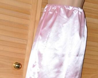 """SLIP 22X - Long 36"""" length silky satin slip / petticoat, baby pink, Sissy Lingerie"""