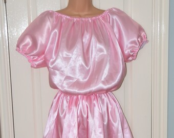 Silky baby pink satin sissy dress, buttery soft with wide flowing skirt Sissy Lingerie