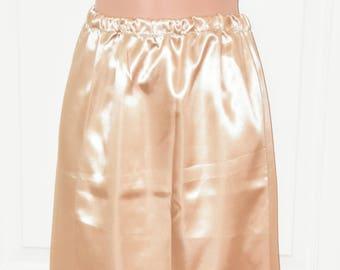 """SLIP 32X - Long 30"""" length silky satin slip / petticoat in gold colour,  Sissy Lingerie"""