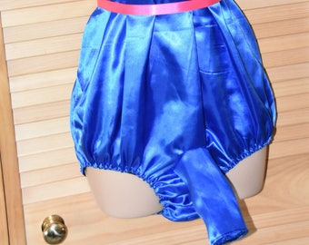SSX 6 - Soft satin all-in-one  teddy with male sleeve / sheath, royal blue silky soft lounging wear, Sissy Lingerie