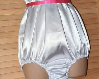 SSX 6 - White soft satin all-in-one teddy, silky soft lounging wear, Sissy Lingerie