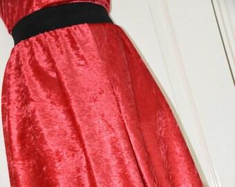 NH 76 -  Red velvet flippy feminine skirt, crossdressers delight,  swirling girly wear, Sissy Lingerie