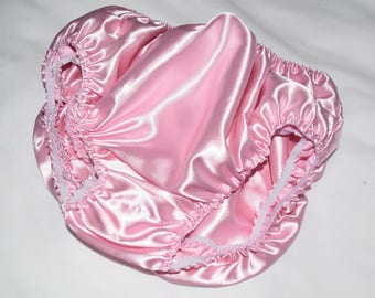 """SS 315 - DOUBLE layered baby pink satin panties inside panties, to 38"""",  Sissy Lingerie"""