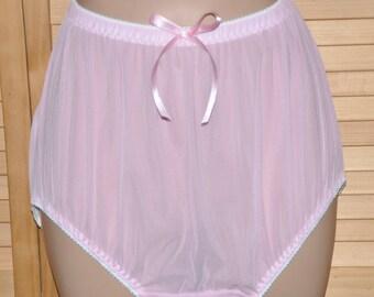 "EE 82 - XL Soft sheer exposing panties in pink to waist 40"", lace free sissy show-off panties, Sissy Lingerie"