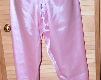 Silky open crotch bloomers, shimmering baby pink satin - Sissy Lingerie