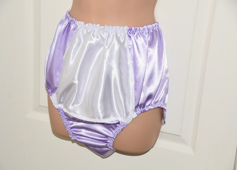 DOUBLE satin silky panties Silky lilac with white so much fun... SS Sissy Lingerie