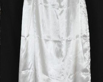 """SLIP 1X - Long 36"""" length Double layered silky satin slip / petticoat, white, Sissy Lingerie"""