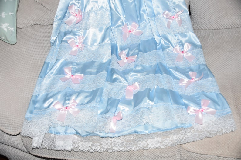 Sissy Lingerie JS 51x larger size for sissy boys and girls baby blue with pink satin trims trims... Silky satin dress  nightie