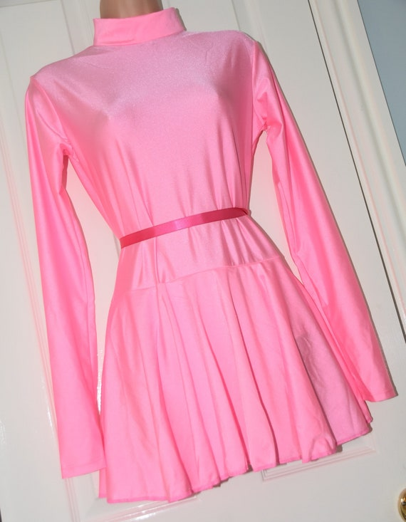 """ADULT BABY SISSY PINK  SATIN DRESS 48/"""" FRILLY HEM LACE CURVED SKIRT SATIN BOWS"""