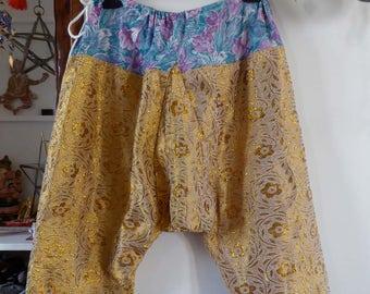 Vintage golden traditional uzbek trousers salwar sirwal size M-L Uzbekistan