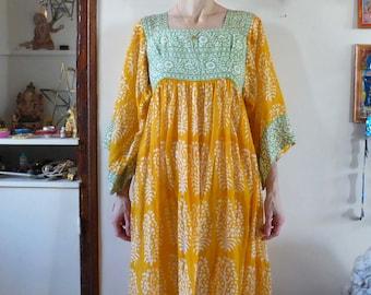 Vintage indian dress gauze Aamanda India hippie bohemian size M-L