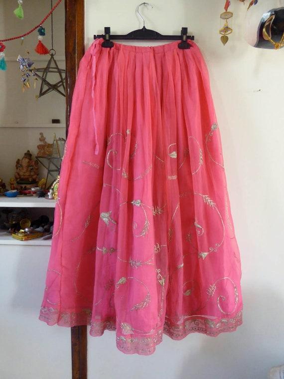Vintage pink indian skirt lehenga hippie india em… - image 7