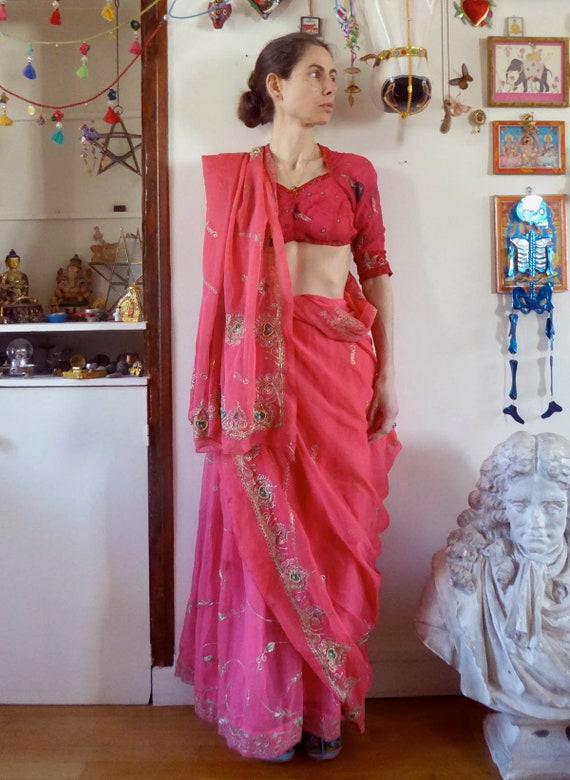 Vintage pink indian skirt lehenga hippie india em… - image 3