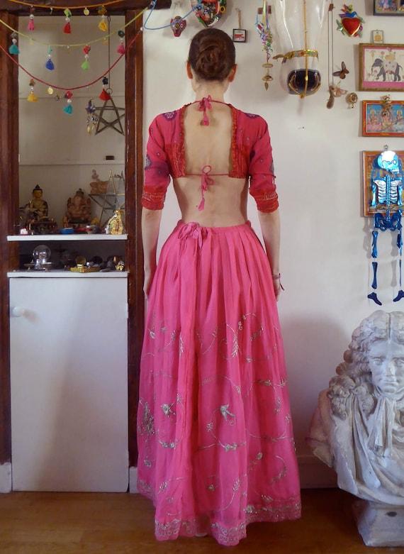 Vintage pink indian skirt lehenga hippie india em… - image 2