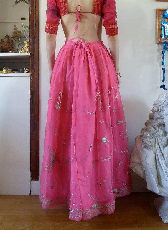 Vintage pink indian skirt lehenga hippie india em… - image 6