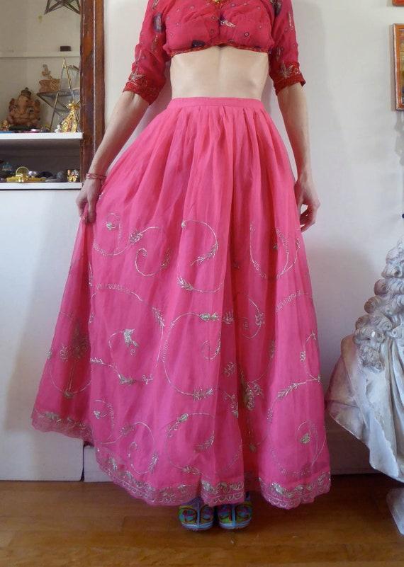 Vintage pink indian skirt lehenga hippie india em… - image 4