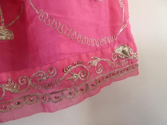 Vintage pink indian skirt lehenga hippie india em… - image 8