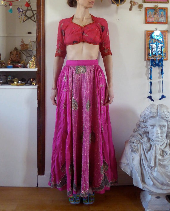 Vintage pink indian skirt lehenga hippie india emb