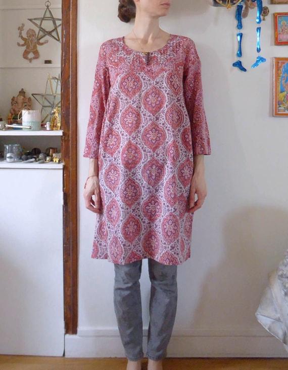 Vintage kurta dress tunic Anokhi block print flowe