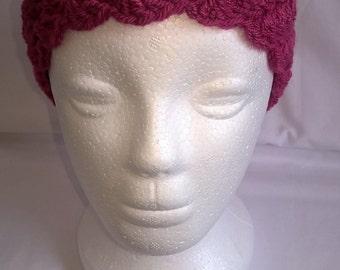 Crochet hat, chemo, raspberry, red, beanie, slouchy,  hat, cap, headgear, blue, green