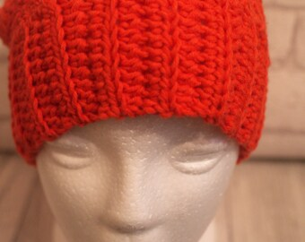 Made To Order Orange beanie, ponytail, messy bun, crochet hat, joggers,
