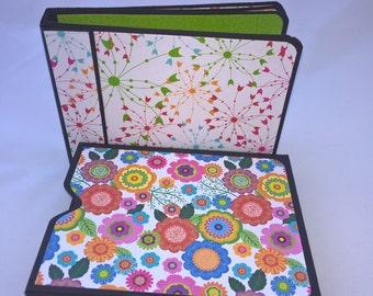 Mini Hand made Journal / photo album /memory keeper with handmade box. Pocket book Funky Retro