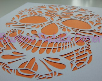 Sugar Skull Paper cut Art , unframed, A4, day of the dead, gothic, hand cut, papercutting, paper cut art,