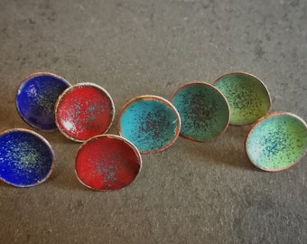 Red, blue green and turquoise enamel copper and silver stud earrings (#0249, 0250, 0251 and 0252)