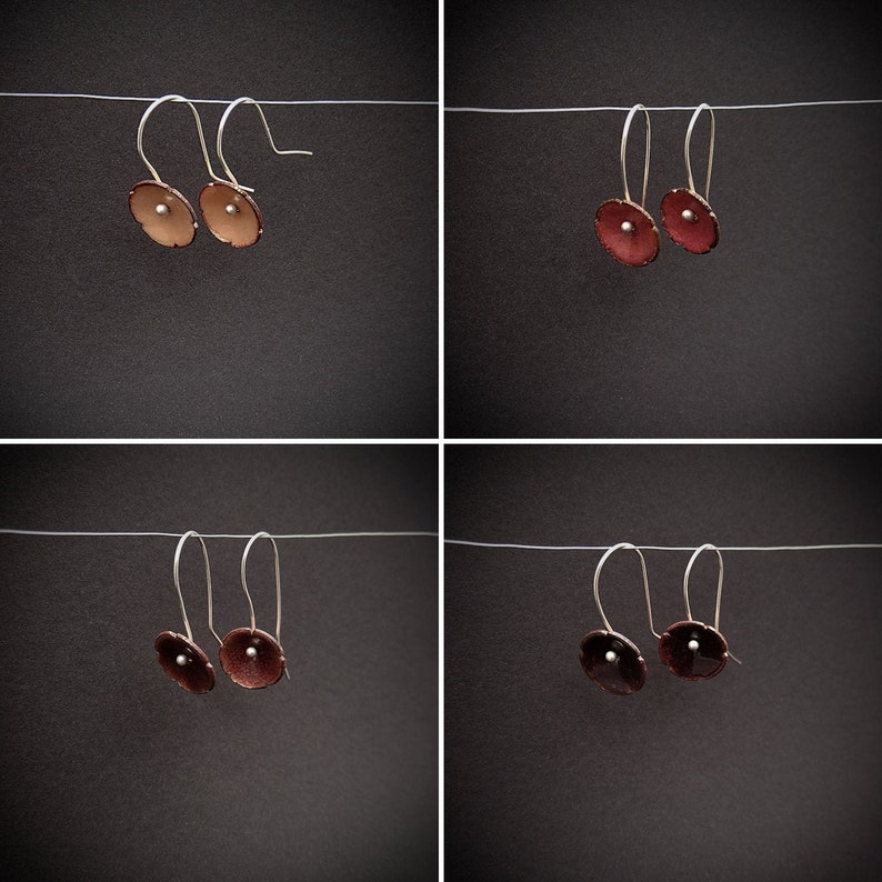 Enamelled copper flower earring with silver ear hooks  image 0