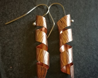 Copper spiral earrings with silver ear wires (#0240)