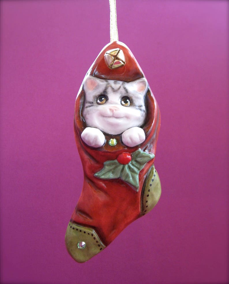 Porcelain Christmas Ornaments A.N Original Designs Christmas Kitty Cat Stocking Allyson Nagel Holiday Ornament