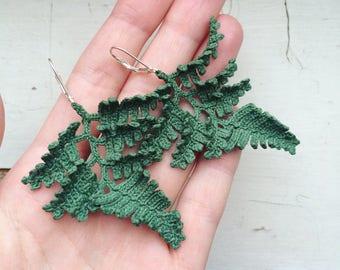 CROCHET PATTERN, BIG fern, crochet fern, fern earrings