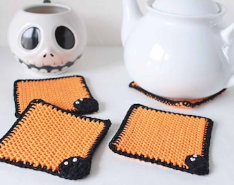 Coasters Halloween gift 4 coasters Set of 4 coasters Halloween party coasters Crochet coasters Gift for best friend Gift for coworker gift